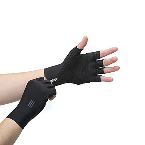 Guantes de ciclismo, bicicleta de montaña, ciclismo, medio dedo para hombres y mujeres, transpirables, a prueba de golpes