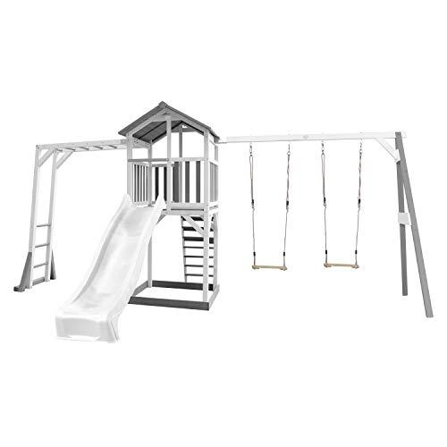 AXI Beach Tower Spielturm aus Holz in Weiß & Grau | Spielhaus für Kinder mit weißer Rutsche, Klettergerüst, Doppelschaukel und Sandkasten | Stelzenhaus für den Garten