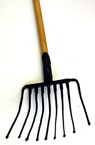 Ergonomic Tines Forged Pitch Fork,Professional Welded Bedding Fork,Forged Ensilage Manue Fork-Heavy Duty Long Fiberglass Handle, Overall in Length 47' or Over.