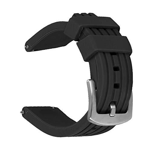 Weimob Unisex Silikon Uhrenarmband 24mm Schwarz mit Dornschließe Gerade Anstoß Schnell-Montierbar Wasserfest Sportlich wa138-24weimob EINWEG