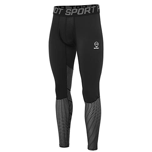 AMZSPORT Herren Fitness Hose Pro Cool Compression Tights Funktionswäsche Pants Silber S