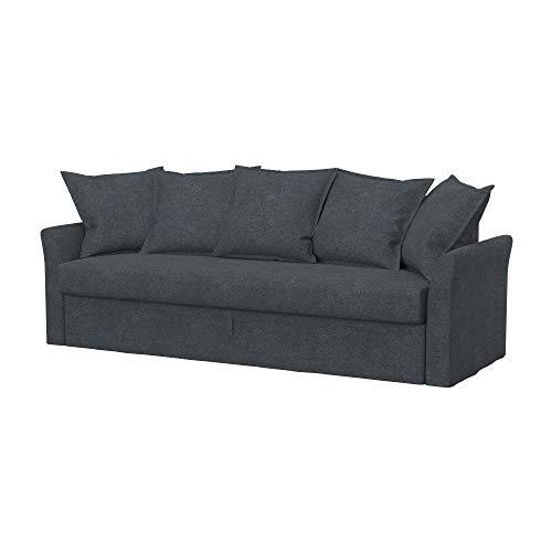 Soferia Fodera di Ricambio per Ikea HOLMSUND Divano Letto a 3 posti, Tela Strong Dark Grey, Grigio