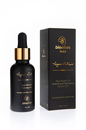 Meilleure Huile d'Argan du Maroc, certifiée Bio, 100% pure. Stimule la croissance des cheveux secs et abîmés. Hydratant anti-âge pour le visage & la peau. Protège les ongles