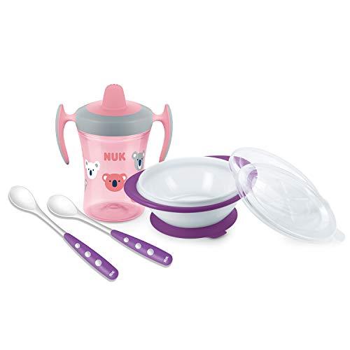 NUK Esslern-Set mit Trainer Cup Trinklernbecher, Esslernschüssel und löffeln, 6+ Monate, Geschenkbox, rosa (girl)