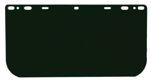 MCR Safety 181542 Polycarbonate Universal Visor Safety Faceshield, Dark Green, 8-Inch by 15-1/2-Inch, 0.040-Inch Thick, 1-Pair