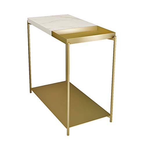CSQ 2-tier Marble Bookshelf, With Metal Storage Shelf Narrow Side Table Hotel Bathroom Cloakroom Storage Table Save Space (Color : Gold, Size : 30 * 60 * 55CM)