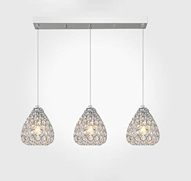 HYYK Moderne Kristallleuchter, Schmiedeeisen Pendelleuchten Verstellbare Deckenleuchte Wohnzimmer Schlafzimmer Cafe Restaurant Dekoration Lampe E27,Gold,A