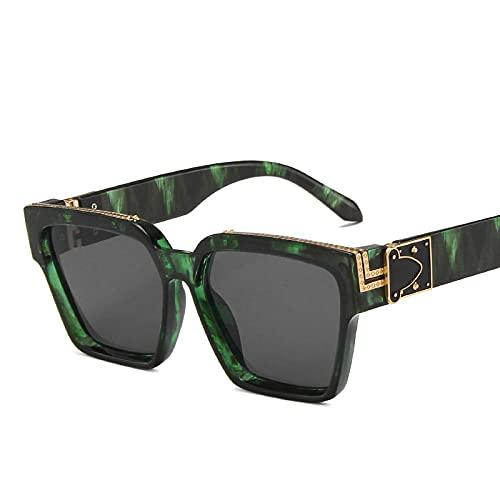 WQZYY&ASDCD Gafas de Sol Gafas De Sol Clásicas para Mujer Tendencia Steampunk Sunglass Hombres Retro Travel Punk Gafas De Sol Sombras para Mujer Fashion-Green_F_Gray