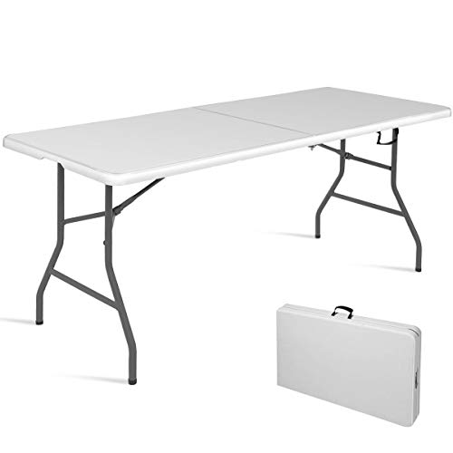 Goplus 6' Folding Table Indoor Outdoor Dining Camp Table Portable Plastic Picnic Table with Rounded Corners & Handle, Black (Off White)