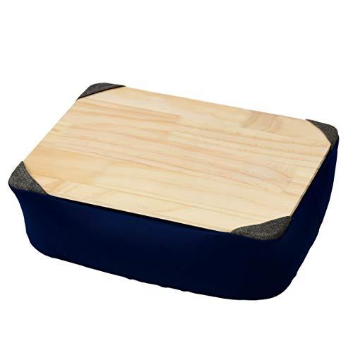 [山善] 膝上テーブル 天板が取り外せる カバーが洗える ビーズ補充可 専用ケース付き クッションテーブル PCテーブル ネイビー AHT-3526(NV)