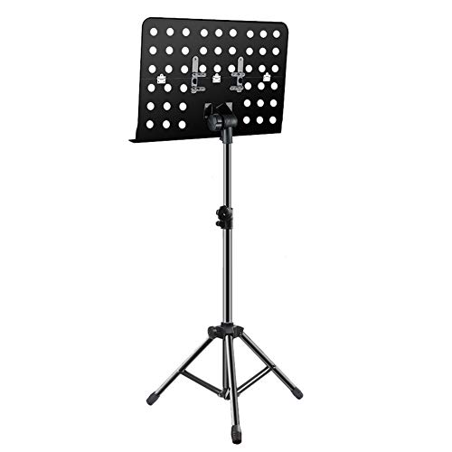 Music Stand with Foldable Panel, Adjustable Height Metal Portable Holder for Laptop Projector Books, Black (Size : Stand)