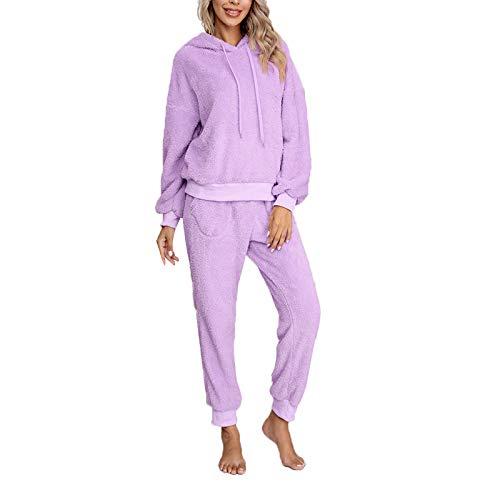Pijama Mujer Invierno Ropa para Casa Forro Polar Conjunto de Pijama 2 Piezas para Mujer Sudadera de Felpa + Pantalones Largos Color Sólido (Lilas, S)