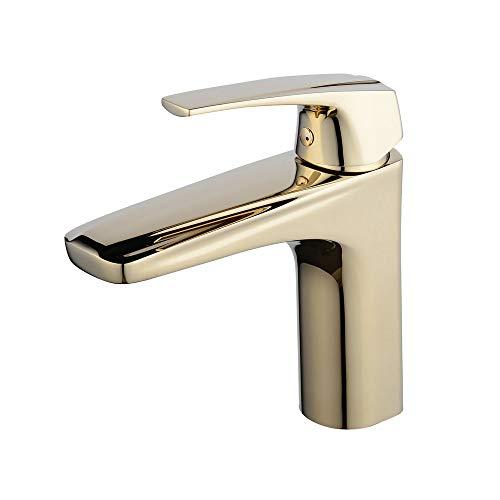 Beelee BL5101G - Grifo de Lavabo de baño Monomando Grifo con Solo Agujero, Dorado
