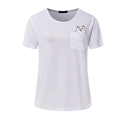 T Shirt Women Fashion Middle Finger Pocket cat Couple Wild Large Size Short T-Shirt Vestidos(XXL,White)
