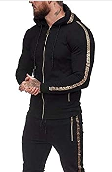 Gold Side Tape Mens Tracksuit 2pcs Hoodie Sweatshirt + Sweatpants Sportswear Outfit Set Black-L
