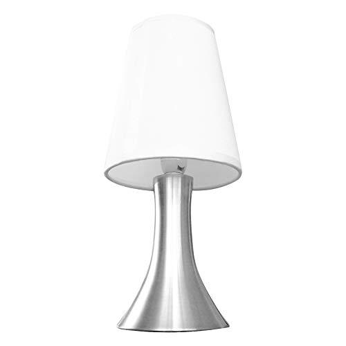 Eaxus® Lámpara de mesa LED con función táctil y pantalla de tela, blanco/plateado