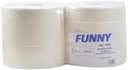 Funny - Rollos de papel de limpieza (2 capas, aprox. 26 cm, 1000 hojas, 1 x 2 unidades), color blanco