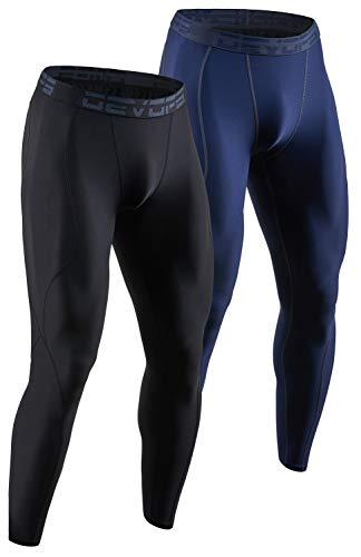 DEVOPS 2 Pack Men's Compression Pants Athletic Leggings (X-Large, Black/Navy)
