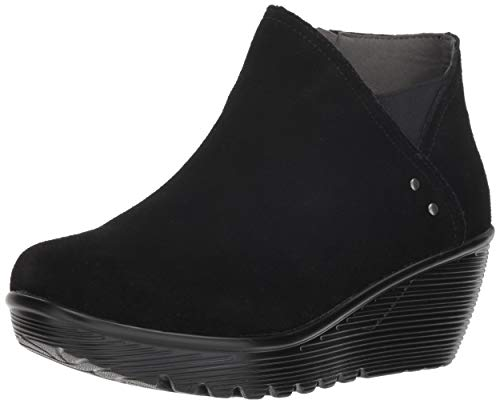 Skechers Women's Parallel-Ditto-Asymmetrical Collar Suede Bootie Ankle Boot, Black, 9 M US