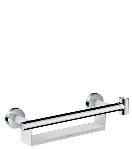 Hansgrohe 26328400 Unica Comfort Asidero con repisa y soporte de ducha, Blanco/Cromo