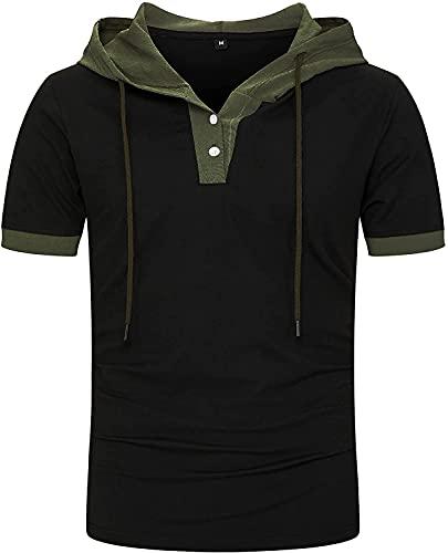 Liuhong Camisetas con Capucha Casual para Hombre Moda botón Manga Corta Jersey Superior de Verano con Capucha