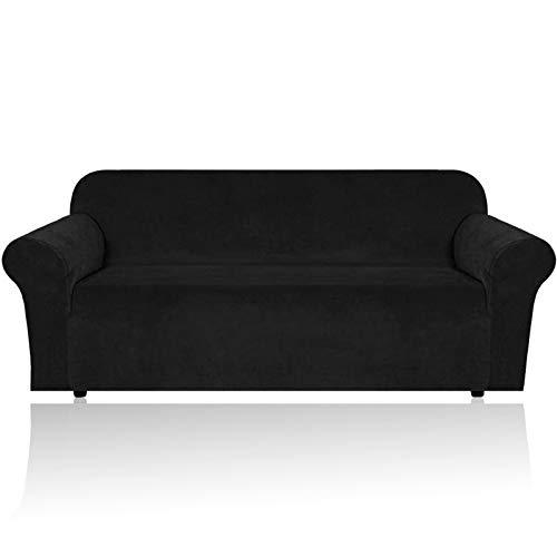 HEYOMART Sofa Überwürfe Sofabezug Elastischer Stretch Samt-Optisch Couchbezug Sofahusse 1/2/3/4 Sitzer Sofa Abdeckung in Verschiedene Größe und Farbe (Schwarz, 2 Sitzer 145-185cm)