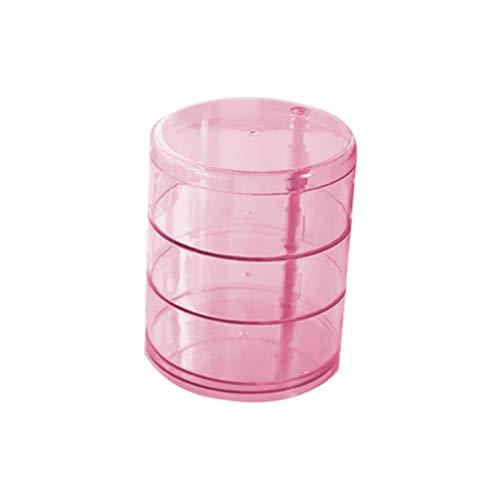 shian Caja giratoria de 2/3/4 Capas, Caja de Almacenamiento para Pendientes, Caja de Almacenamiento, contenedor de Belleza cosmética, 3 Capas, Rosa