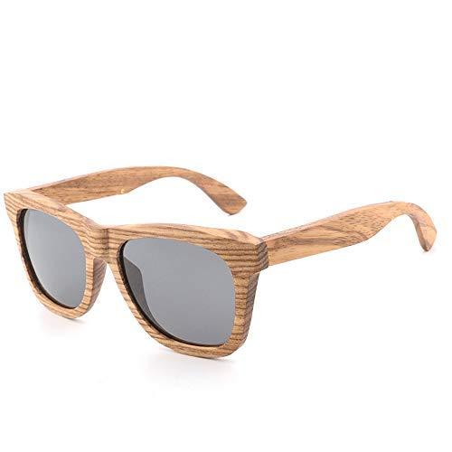 Yeeseu Gafas de sol del marco de madera de bambú gafas de sol retro redondo clásico de la manera gafas de sol polarizadas protección UV400 gafas de moda (Color: Verde, Tamaño: Libre) Ciclismo, Correr,