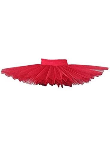Women Professional Swan Ballet Tutu Dress Hard Organdy Platter Performance Leotard Skirt (S, Red) Montana
