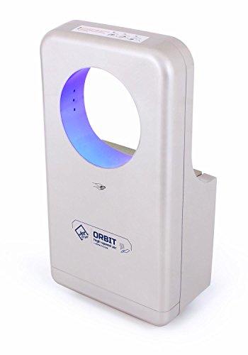 Secador de manos Jet Dryer Orbit, secado rápido y potente, hecho a mano, con sistema de suelo seco, secador de manos para inodoro para minusválidos, color plateado