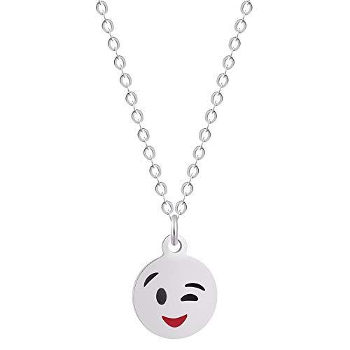 Lady Bling Bling Damen Halskette mit Anhänger aus Edelstahl mit Emaille Emoticon Smiley Affe Kackhaufen inkl. Etui (Smiley Zwinkern, Silber)