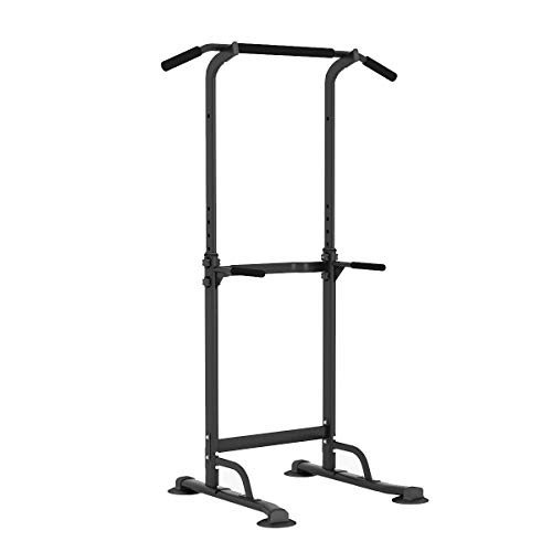 sogesfurniture Tower Adjustable Height Pull Up and Dip Station Multi-Function Home Strength Training Fitness Workout Station, BHCA-PSBB005