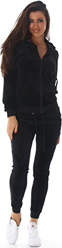 Jela London Damen Velours Jogginganzug Nicki Samt Hausanzug Jacke Kapuze & Hose, Black S