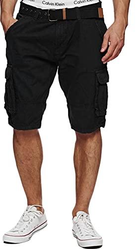 Indicode Herren Monroe Cargo ZA Shorts m. 6 Taschen inkl. Gürtel aus 100% Baumwolle | Kurze Hose Bermuda Sommer Herrenshorts Short Men Pants Cargohose kurz Sommerhose f. Männer Black L
