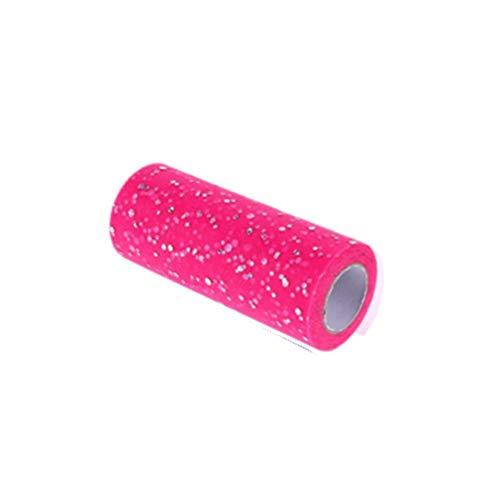 Leoie 15CMx25Yard Glitter Pailletten Tulle Roll voor Bruiloft Verjaardag Feestjurk Decoratie C15 roos rood