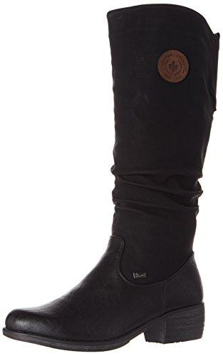 Rieker 93157 Damen Winterstiefel,Winter-Boots,Fellboots,Fellstiefel,gefüttert,warm,Reißverschluss,schwarz,38 EU