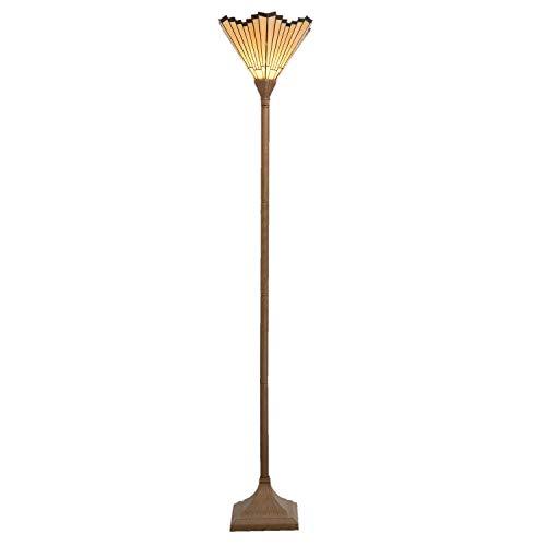 Lumilamp 5LL-5734 staande lamp/vloerlamp staande lamp met Art Deco Tiffany stijl glazen scherm 37 x 37 x 183 cm E27 max. 60 W decoratief kleurrijk glas handgemaakt glazen scherm