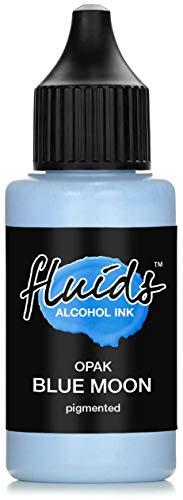 Fluids Alcohol Ink OPAK BLUE MOON, Tinta al alcohol pigmentada, opaca sobre soportes claros y oscuros