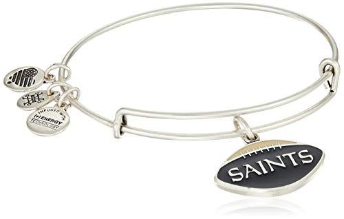 Alex and Ani Women's Color Infusion New Orleans Saints Football II EWB Bracelet, Rafaelian Silver