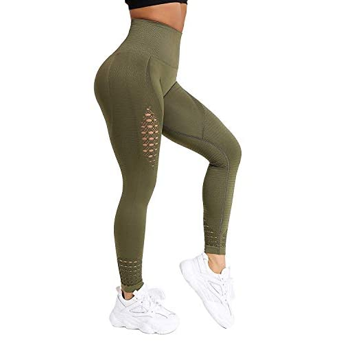 FITTOO Women Sexy Hollow Out Lace Patchwork High Waist Slim Yoga Pants Workout Fitness Gym Leggings Tights