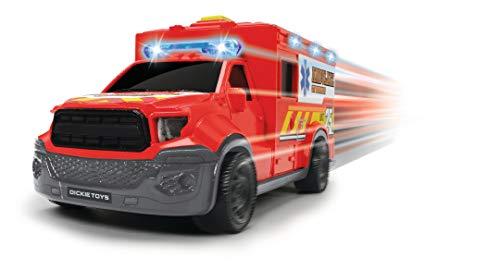 Dickie Toys 203713013 City Ambulance, Krankenwagen, Rettungswagen Trage, Spielzeugauto, zu öffnende Hecktür, Licht & Sound, inkl. Batterien, 18 cm, ab 3 Jahren, rot