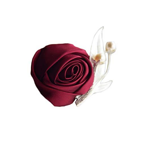 Dosige Brochesde Fleurs pour Revers Homme Boutonnière 1 Pcs Couleur Riche (Rouge-a)