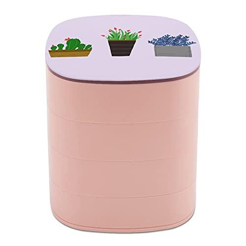 Drehen Sie die Schmuckschatulle mit Topfblumen, Gartenmöbel, Schmuckkoffer mit Spiegel, Schmuckschatulle, mehrschichtiges Design, Schmuckhalter für Frauen, Mädchen und Kinder