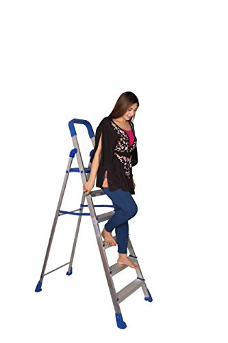 Parasnath Aluminium Heavy Folding Ladder Home Pro with Wide 6 Steps Made in India