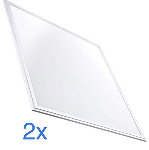 Lot 2x Panneau LED 60 x 60 cm, 40 W, 3200 lumens. Couleur blanc neutre (4500K). Driver inclus, 595x595x8mm.