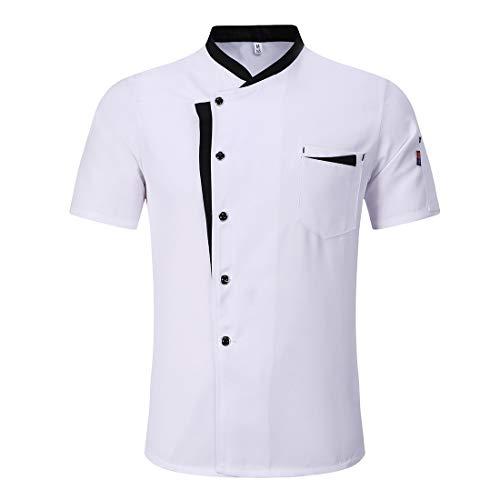 Freahap - Chaqueta de Cocinero Camarero Transpirable y Cómodo, Unisex Camiseta Camisa de Chef Manga Corta para Verano para Trabajo Blanco XL