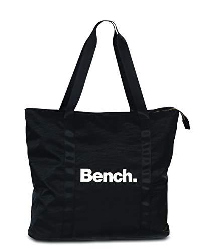 Bench. Damen Schulter Tasche Shopper Henkeltsche schwarz grau 43 x 40 cm (schwarz)