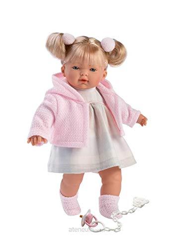 """Muñeca """"Aitana"""" con pelo rubio, ojos azules y cuerpo suave, muñeca de bebé con traje de color rosa y cadena de chupete, 33 cm , color/modelo surtido"""