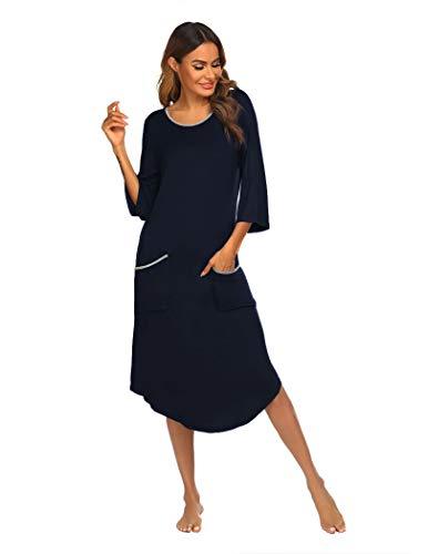 Ekouaer Knit Three Quarters Sleeve Nightgown Women, Contrast Color Midi Length Sleep Dress-Navy Blue XL
