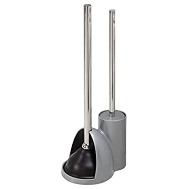 mDesign Compact Freestanding Plastic Toilet Bowl Brush and Plunger Combo Set with Holder for Bathroom Storage and Organization - Sturdy, Heavy Duty, Deep Cleaning - Silver/Brushed Stainless Steel